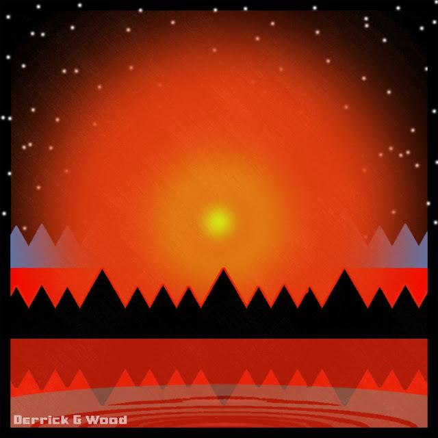 camp camping summer sunrise geometric art shapes sunset stars