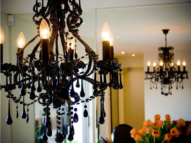 design black chandelier room