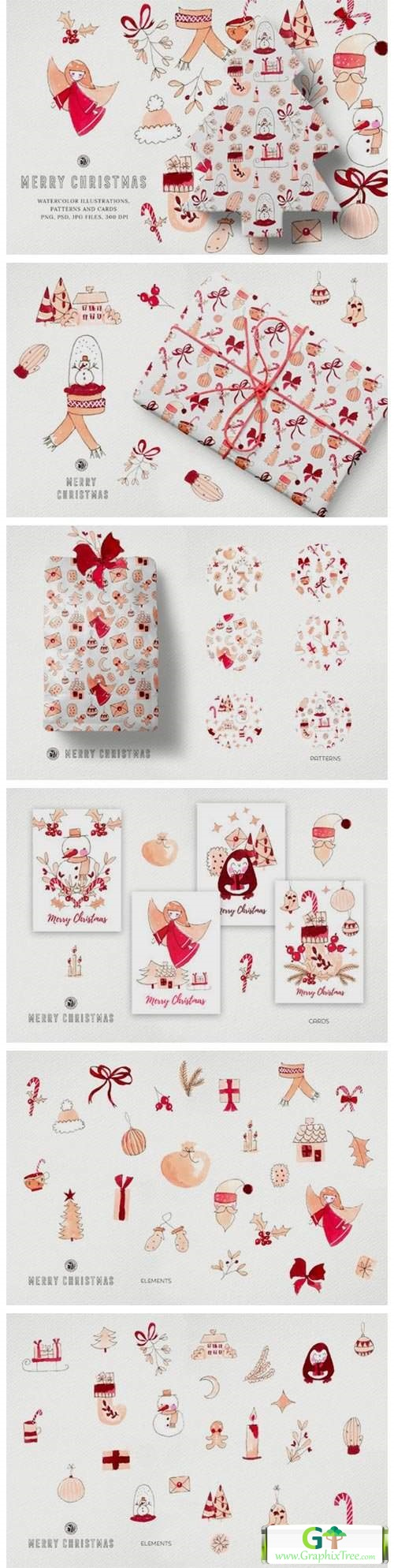 Watercolor Clipart - Merry Christmas [Stock Image] [illustrations]