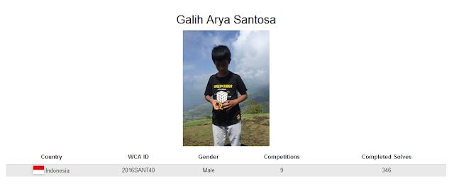 Profile akun WCA dari Gali Arya Sentosa yang merupakan peringkat kelima nasiona rubik square-1 kategori single