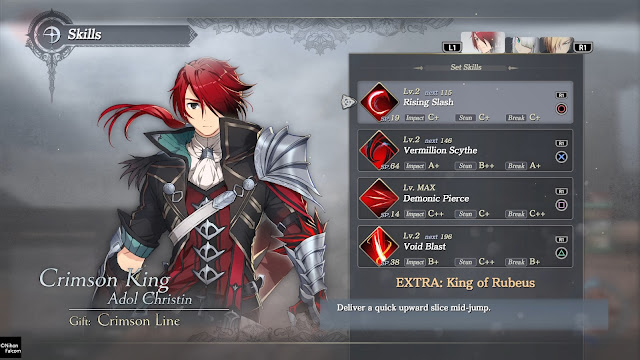 Habilidades Menú Crimson King Adol Christin