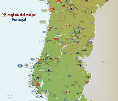 Travel and tourist map of Portugal