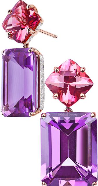 Paolo Costagli tourmaline & amethyst diamond earrings #brilliantluxury