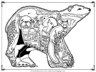 detailed bear pictures to color for adult