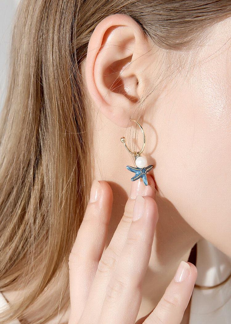 藍色海星.貝殼擬珍珠耳環