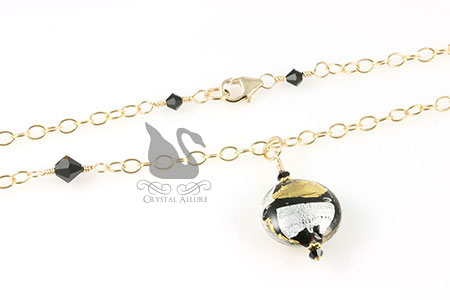 Black Crystal Venetian Bead Necklace (N052)