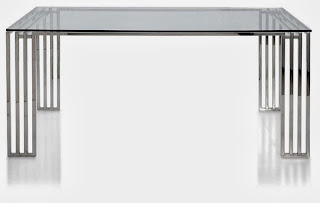 Mesa Rectangular Barrotes Acero Inox, mesa cristal y aluminio