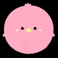 パステルカラーの鳥のイラスト(赤)
