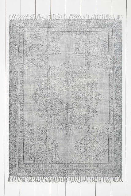 large grey patterned rug