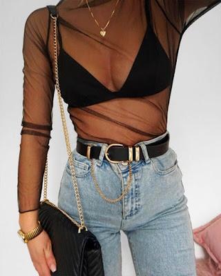 outfit de moda con bralette juvenil negro tumblr