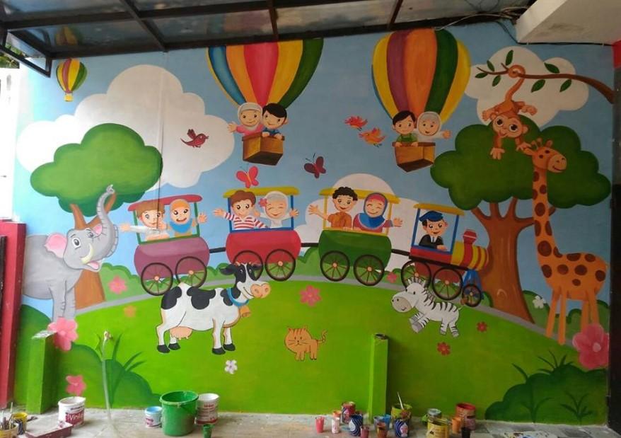 37 Contoh Lukisan Dinding Kelas Paud
