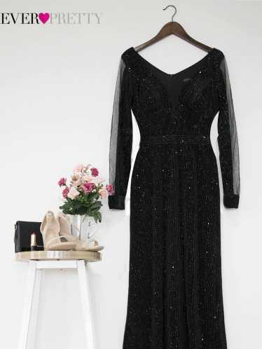 Women Evening Dresses Plus Size Long Sleeve Elegant Sparkle Mermaid Velvet