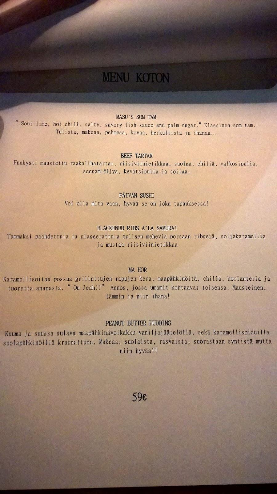 Masu Asian Bistro Tampere mallaspulla ravintola-arvio menu