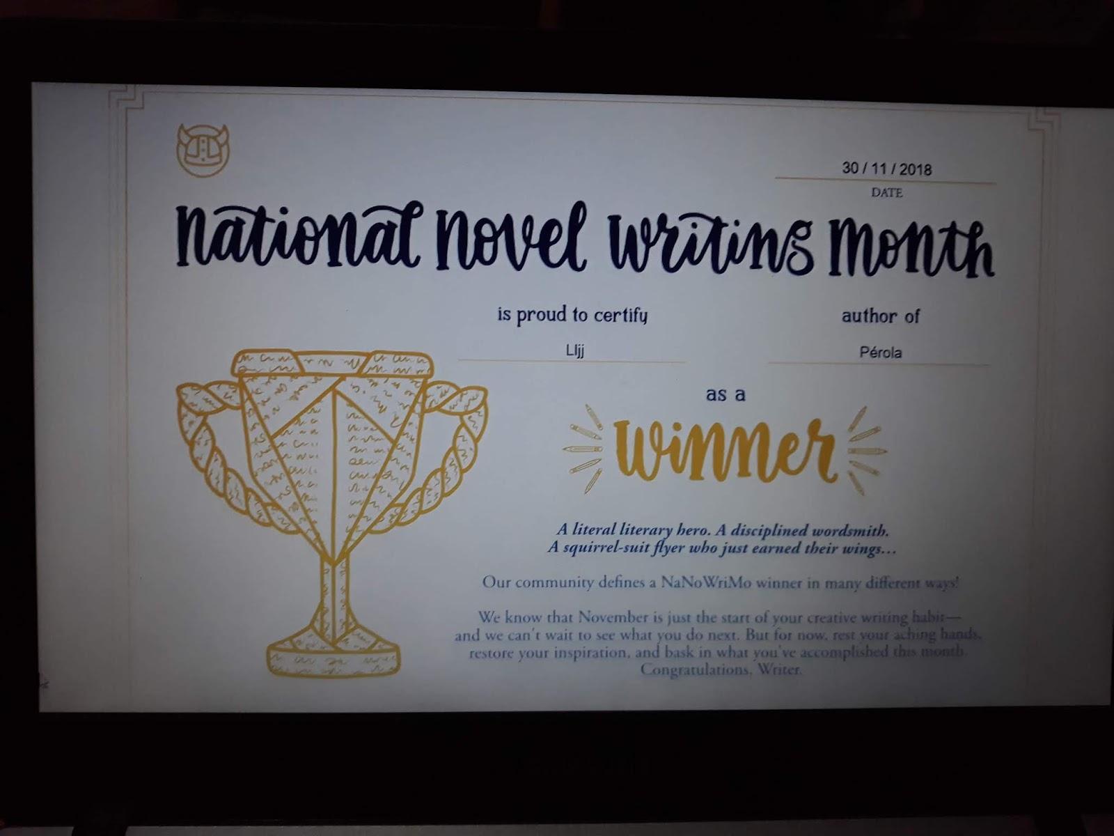 Certificado de vencedor do NaNoWriMo 2018