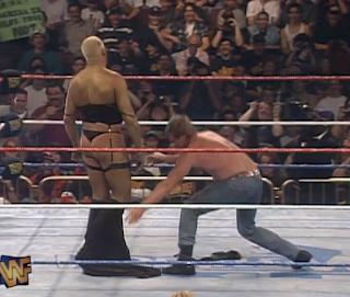 WWE / WWF - WRESTLEMANIA 12 - Roddy Piper stripped Goldust to reveal his women's underwear in their Hollywood Backlot Brawll