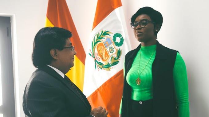 Face Of Runway Ghana, Araba Sey Meets Ambassador Of Peru