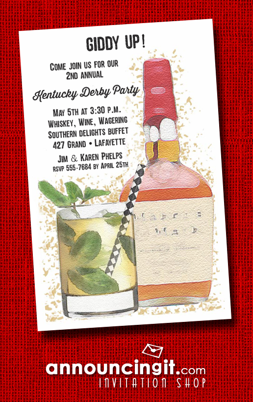 Bourbon and Mint Julep Kentucky Derby Party Invitations