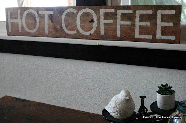 hot coffee farmhouse style sign