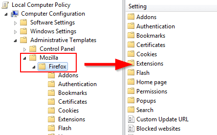 firefox group policies