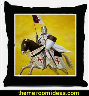 templar cover image reworked Throw Pillow medieval knights theme decorating