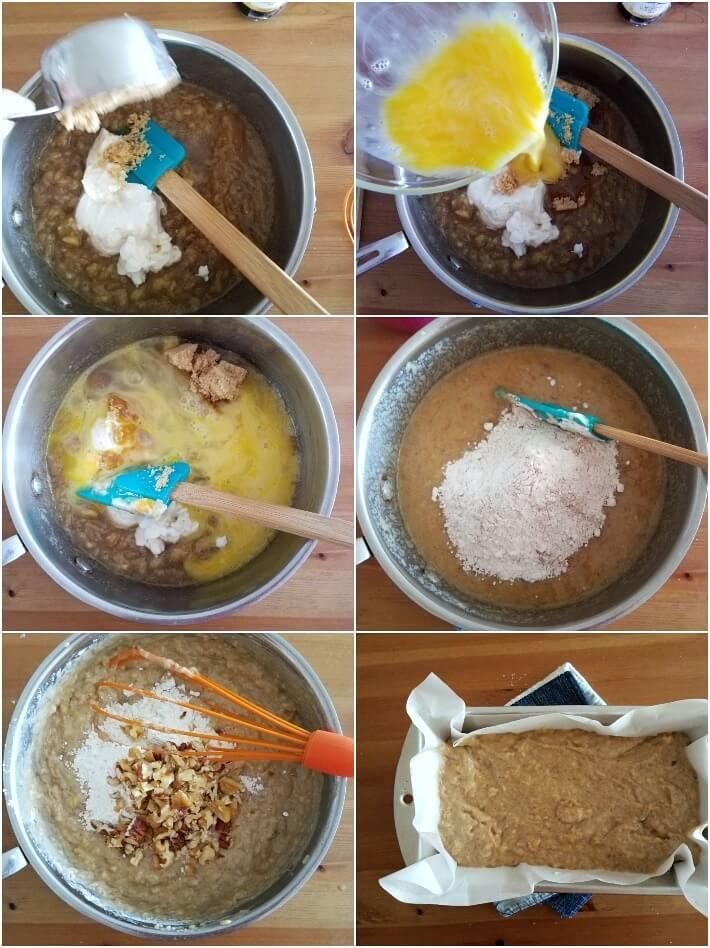 Preparación del bizcocho de banana: incorporando ingredientes secos y colocar en el molde