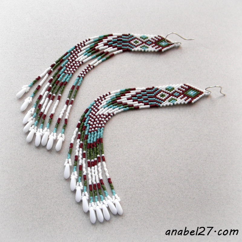 seed bead earrings native american inspired beadwork jewelry