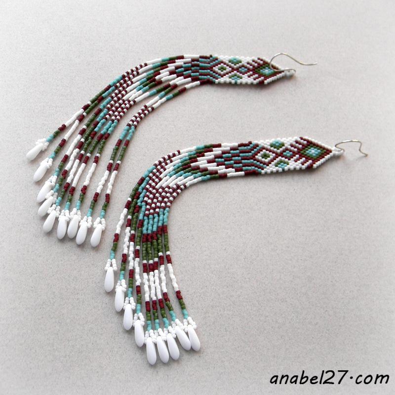 seed bead earrings native american inspired beadwork jewelry