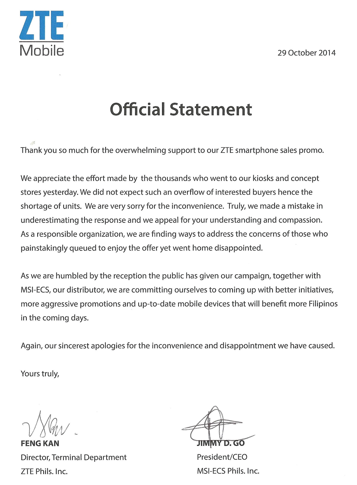 Official Statement from ZTE Mobile