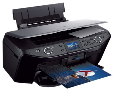 Photo printing forthwith from retentiveness cards together with PictBridge enabled cameras Epson Stylus Photo RX585 Driver Downloads