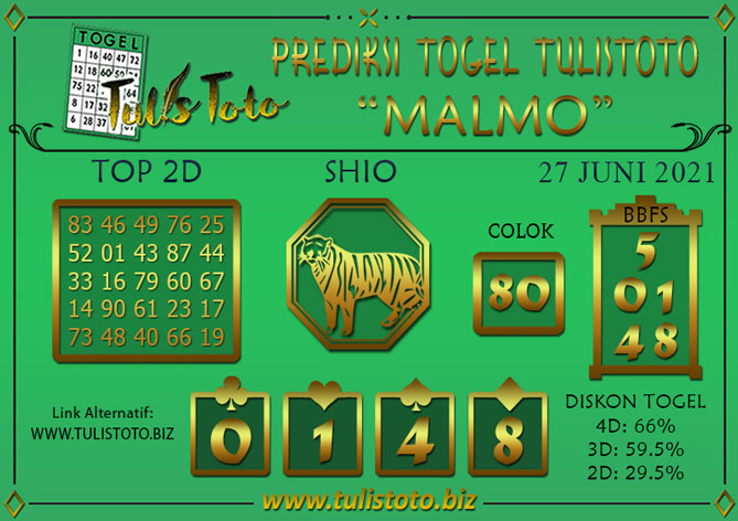 Prediksi Togel MALMO TULISTOTO 27 JUNI 2021