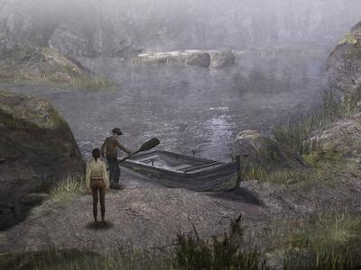 мальчик момо вытащил грязное весло из воды в игре сибирь