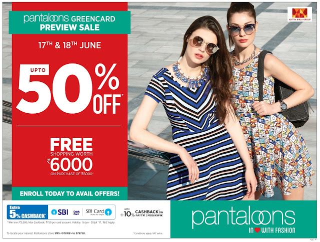 Pantaloon fashions up to 50% off | June 2017 discount offers