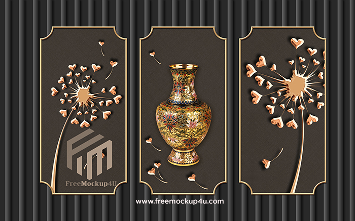 Chinese Style Abstract Flower Vase Petal Dark Fashion Background Wall
