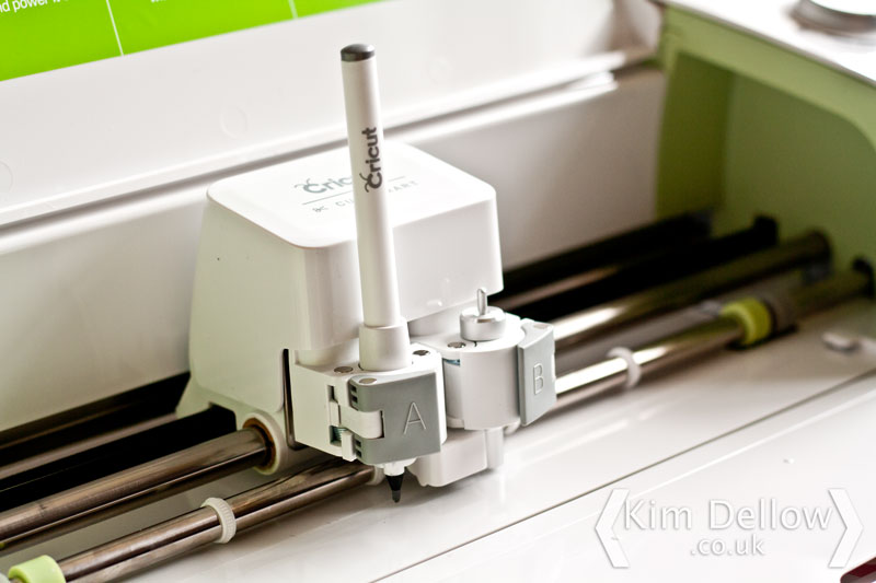 Close-up of the Cricut Explore Pen and knife holder
