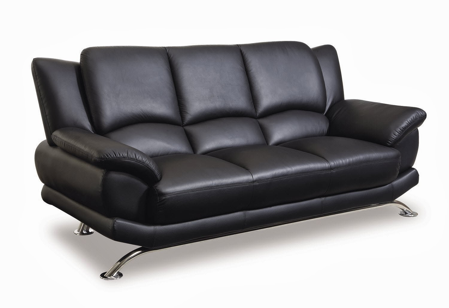 Bonded Leather Matching Sofa Black With Chrome Legs