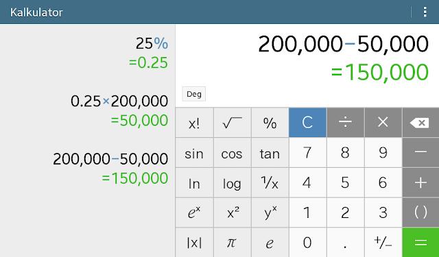 cara menghitung persen di kalkulator scientific