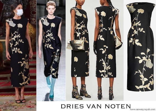 Queen Letizia wore DRIES VAN NOTEN Sequin embellished metallic floral print jacquard midi dress