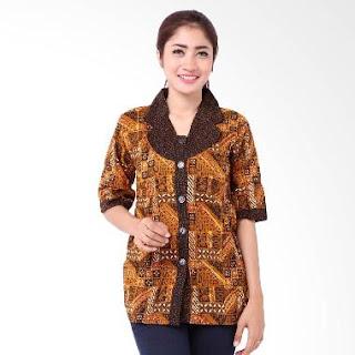 Contoh Desain Baju Batik Kerja Modern