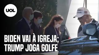 Vilarejo de Kamala Harris comemora - Biden vai à igreja e Trump joga golfe
