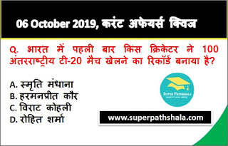 Daily Current Affairs Quiz 06 October 2019 in Hindi