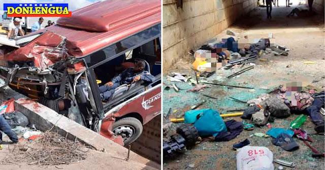 VARIOS FALLECIDOS | Autobús se estrelló contra una barrera de concreto en Anzoátegui