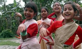 Children enjoying dancing Bihu in Rongali Bihu festival
