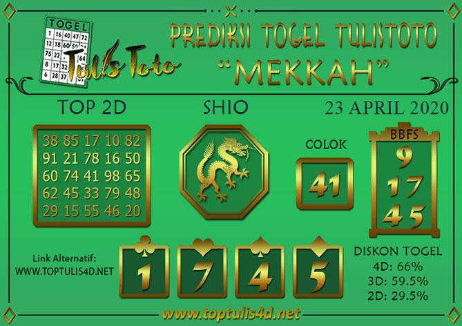 Prediksi Togel MEKKAH TULISTOTO 23 APRIL 2020