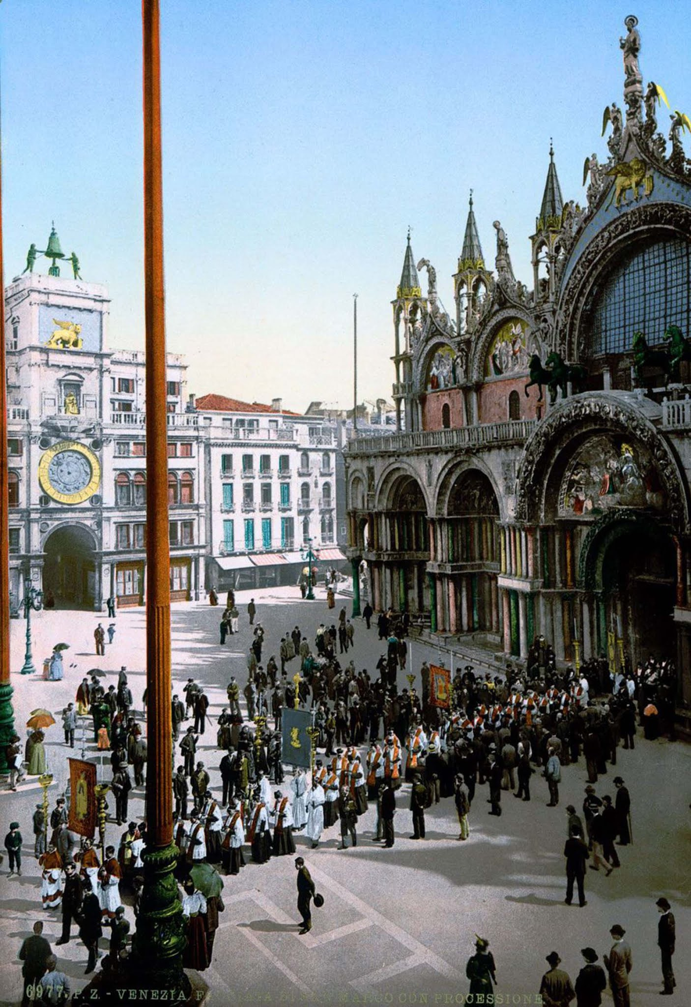 A procession in front of St. Mark's.