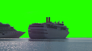 Cruise ships float & sail on the ocean set againsy a green screen background. Free download.