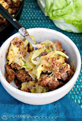 TEX MEX CABBAGE BEEF SKILLET RECIPE TOPPED WITH SPICY MEXICAN CHEESE BLEND