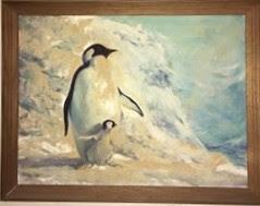 Penguin painting, penguins, mother penguin, father penguin, penguin chick, adorable penguin images, Francis Quirk