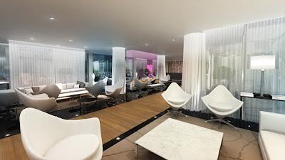 Perspective 3d salon hôtel de luxe et lobby