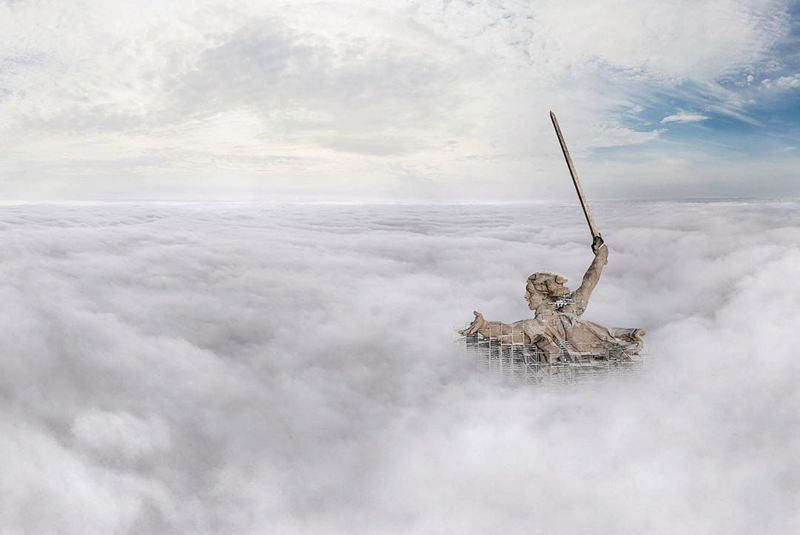 "Mamayev Kurgan, Russia. Photo of the ""Motherland Calls!"" Statue, taken from behind the clouds"